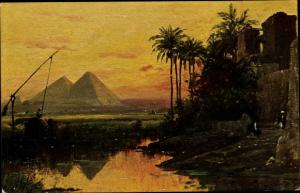 Künstler Ak Wuttke, C., Gizeh Ägypten, Pyramiden
