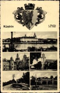 Ak Kostrzyn nad Odrą Cüstrin Küstrin Ostbrandenburg, Schlosskaserne, Marienkirche, Berliner Tor
