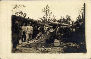 Foto Ak Französische Soldaten vor Geschütz, Gruppenbild