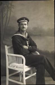 Foto Ak Deutscher Marine Soldat, Unterseeboots Halbflottille, Portrait
