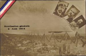 Ak Mobilisation generale 1914, President Poincaré, King George V., Zar Nikolaus II. von Russland