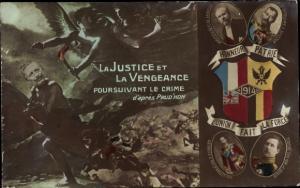 Ak La Justice et la Vengeance, Wilhelm II., Poincaré, Nikolaus II., George V., Albert I., I. WK