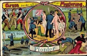 Künstler Ak Gruß von der Musterung, Rekruten für die Pioniere