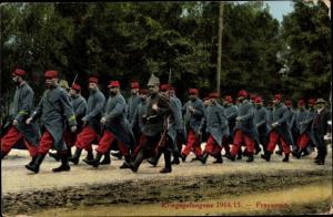 Ak Kriegsgefangene 1914/15, Französische Soldaten in Uniform
