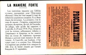 Ak Proclamation, La Maniere Forte, Le General Commandant en Chef, deutsche Bekanntmachung