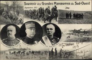 Ak Grandes Manoeuvres du Sud Ouest, General Chomer, General Joffre, General Pau, 1913
