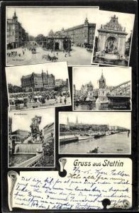 Ak Szczecin Stettin Pommern, Rathaus, Markt, Manzelbrunne, Hafen, Brücke