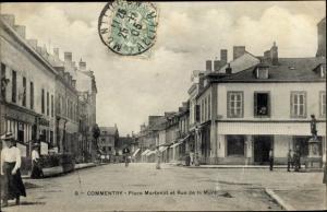 Ak Commentry Allier, Place Martenot et Rue de la Mure