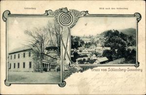 Passepartout Ak Sonneberg in Thüringen, Schlossberg