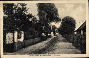 Ak Chłopy Bauerhufen Pommern, Straßenpartie
