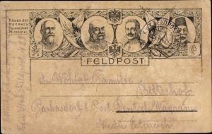 Litho Vierbund I. WK, Kaiser Wilhelm II., Kaiser Franz Joseph I., Mehmed V., Ferdinand I.