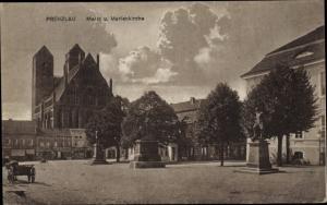 Ak Prenzlau in der Uckermark, Markt, Marienkirche