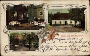 Ak Kostebrau Lauchhammer in der Niederlausitz, Spiegelglashütte Friedrichsthal, Werksgasthof