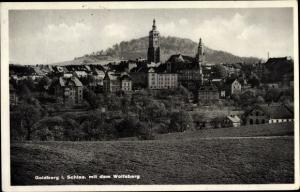 Ak Złotoryja Goldberg Schlesien, Panorama mit Wolfsberg