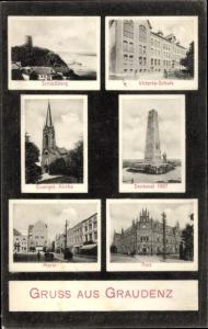 Ak Grudziądz Graudenz Westpreußen, Markt, Post, Victoriaschule, Kirche, Denkmal, Schlossberg