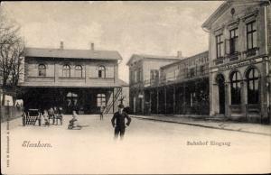 Ak Elmshorn im Kreis Pinneberg, Bahnhof, Eingang, Bahnhofshotel Zur Schweizer Halle
