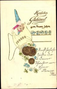 Präge Litho Glückwunsch Neujahr, Zwerg, Münzen, Kleeblätter, Vergissmeinnicht