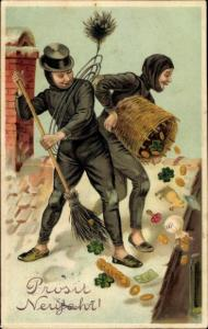 Litho Glückwunsch Neujahr, Schornsteinfeger, Münzen, Kleeblätter, Schwein