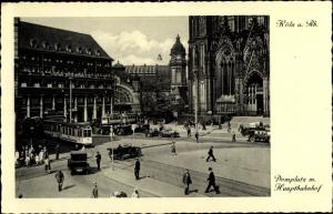 Ak Köln am Rhein, Domplatz mit Hauptbahnhof