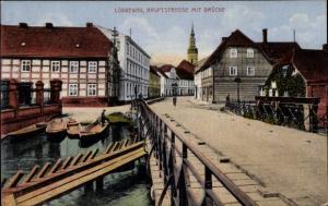 Ak Lübbenau im Spreewald, Hauptstraße mit Brücke, Boote
