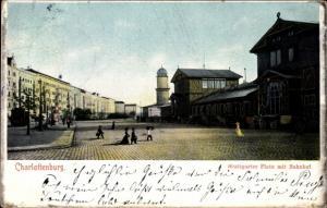Ak Berlin Charlottenburg, Stuttgarter Platz mit Bahnhof