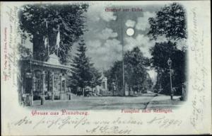 Mondschein Ak Pinneberg in Schleswig Holstein, Gasthof zur Eiche, Fußpfad nach Rellingen