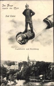 Ak Bad Elster im Vogtland, Gondelteich, Kirchberg, Polizist auf Sektkorken, Kupferberg