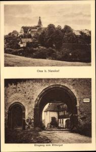 Ak Ossa Narsdorf Geithain in Sachsen, Eingang zum Rittergut, Panorama
