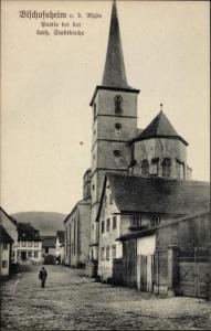 Ak Bischofsheim an der Rhön in Unterfranken, kath. Stadtkirche