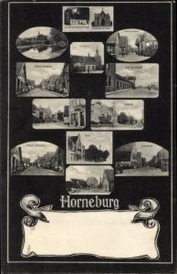 Ak Horneburg Niederelbe, Post, Lange Straße, Vordamm, Sande, Am Bahnhof, Kirche, Marschdamm