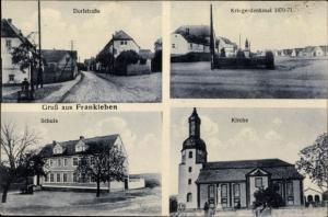 Ak Frankleben Braunsbedra im Saalekreis, Dorfstraße, Kriegerdenkmal, Schule, Kirche