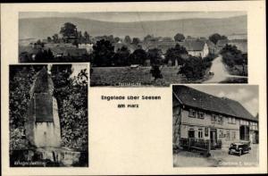 Ak Engelade Seesen in Niedersachsen, Teilansicht, Kriegerdenkmal, Gasthaus