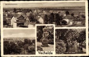 Ak Vechelde Niedersachsen, Gesamtansicht, Amtsgericht, Sonnenuhr, Gerichtsgarten, Aue