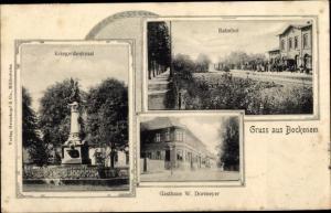 Ak Bockenem am Harz, Kriegerdenkmal, Bahnhof, Gasthaus