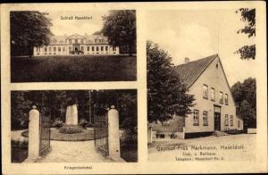 Ak Haseldorf in Schleswig Holstein, Kriegerdenkmal, Gasthof