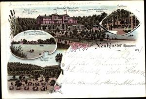 Litho Neukloster Buxtehude im Kreis Stade, Kurhotel Paterborn, Mühlenteich