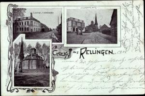 Ak Rellingen in Holstein, Marktplatz, Kirche, Gasthof