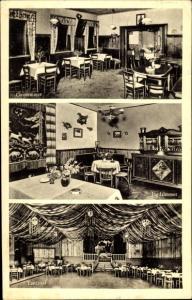 Ak Domsdorf Uebigau Wahrenbrück, Gasthof zur Rieseneiche, Gastzimmer, Jagdzimmer, Tanzsaal