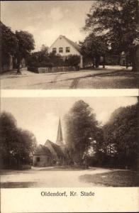 Ak Oldendorf in Niedersachsen, Straßenpartien, Kirche