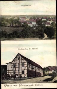 Ak Dietersdorf Südharz, Gesamtansicht, Gasthaus