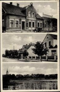 Ak Klietz in Sachsen Anhalt, Straßenpartie, Deutsches Haus, Panorama vom Ort
