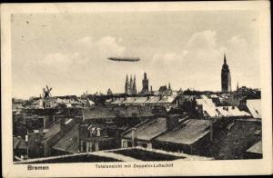 Ak Hansestadt Bremen, Zeppelin Luftschiff über der Stadt
