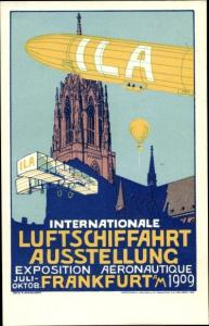 Künstler Ak Internationale Luftschifffahrt Ausstellung Frankfurt am Main 1909, Zeppelin, Flugzeug