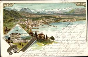 Litho Bregenz am Bodensee Vorarlberg, Pfänder, Blick auf den Ort