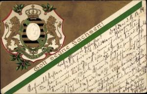 Präge Wappen Litho Gott segne Sachsen, König Friedrich August III. von Sachsen