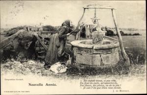 Ak Glückwunsch Neujahr, Nouvelle Annee 1903, Alte Frau zieht Eimer mit Kind aus Brunnen, Gedicht