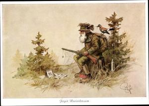 Künstler Ak Geilfus, H., Jäger Unverdrossen, Jäger wartet tagelang auf Wild, verwächst mit Natur