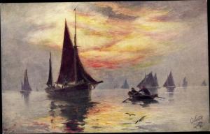 Künstler Ak Fishing Smacke, Fischerboote im Abendlicht, Tuck 8893