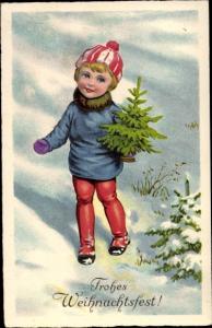 Ak Frohe Weihnachten, Kind mit Tannenbaum