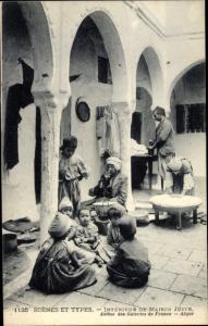 Judaika Ak Scenes et Types, Interieur de Maison Juive, Juden